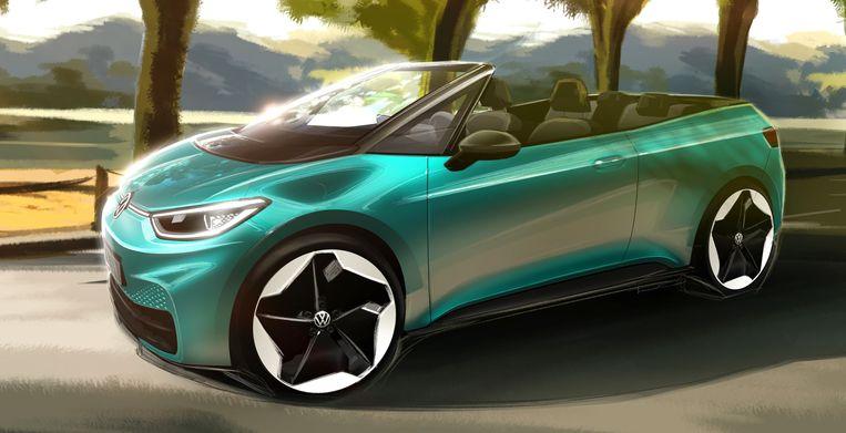 Schets van elektrische cabrio van VW Beeld
