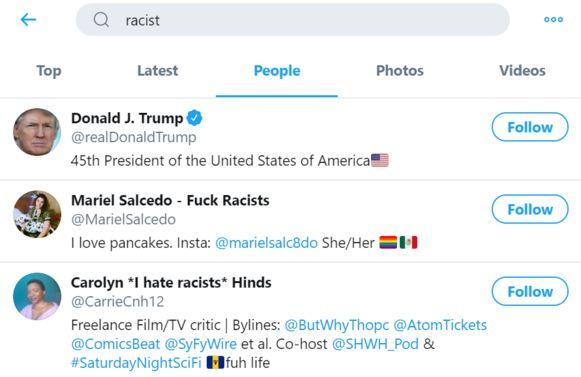 De account van Donald Trump komt bovenaan te staan wanneer je op Twitter de zoekterm 'racist' invult.