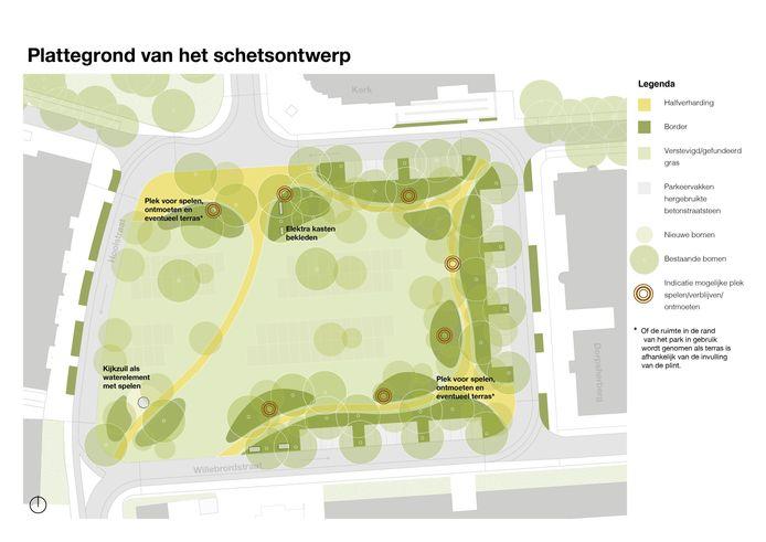 Impressie met legenda van het Willem-Alexanderplein in Teteringen.
