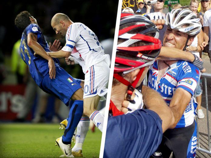 Links: de befaamde clash tussen Marco Materazzi en Zinedine Zidane. Rechts: de knokpartij tussen Carlos Barredo en Rui Costa.