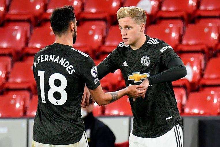 Van de Beek moet het bij Manchester United vooral doen met korte invalbeurten. Beeld AFP