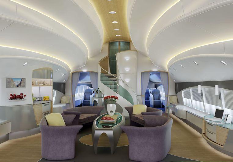 Interieurontwerpen voor verschillende modellen Boeing Business Jets (BBJ's) van Boeing.  Beeld Boeing
