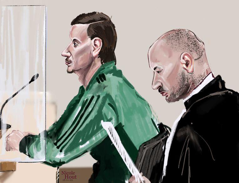 Danny Vonk tijdens de rechtszaak vanwege de bedreiging van Pieter Omtzigt.  Beeld ANP