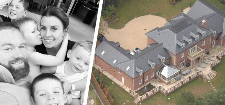 Wayne Rooney met zijn gezin en de nieuwe villa.