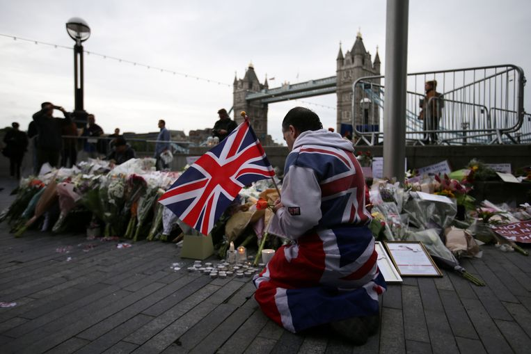 Wake voor de slachtoffers van de aanslagen aan London Bridge en de Borough Market, die plaatsvonden op 3 juni 2017. Zeven mensen kwamen daarbij om het leven.  Beeld AFP