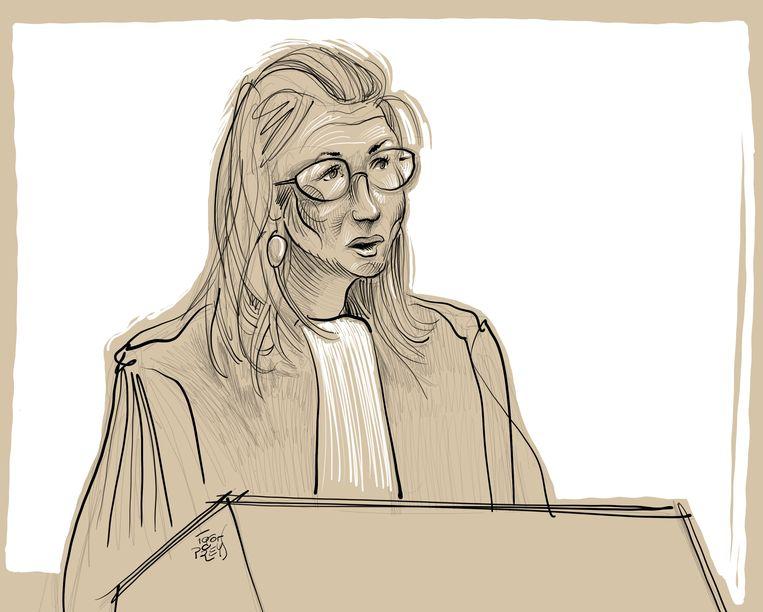 Het pleidooi van Evelien Delbeke, in een interpretatie van de rechtbanktekenaar. Beeld BELGA