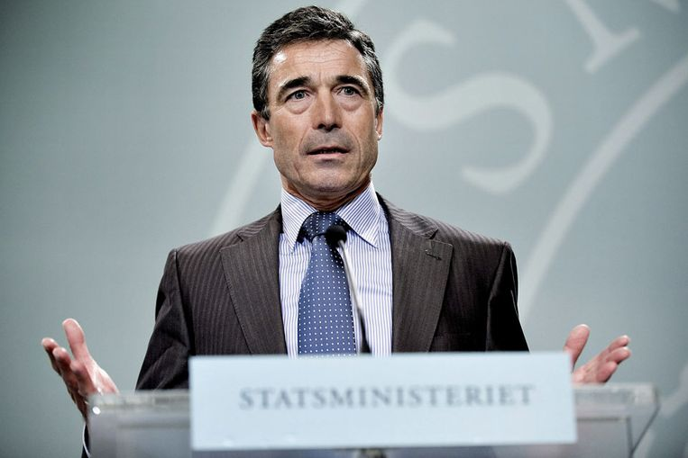 Anders Fogh Rasmussen tijdens in februari 2009. (EPA) Beeld EPA