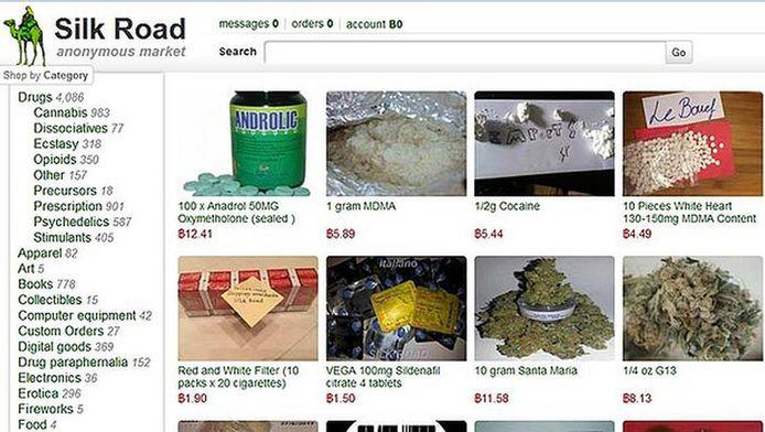 Screenshot van de beruchte online marktplaats voor drugs