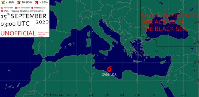 Locatie van de storm Cassilda in de Middellandse Zee.