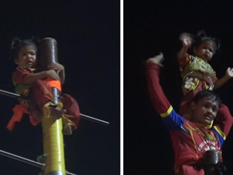 Une fillette de deux ans attachée en haut d'une poutre de dix mètres lors d'un festival
