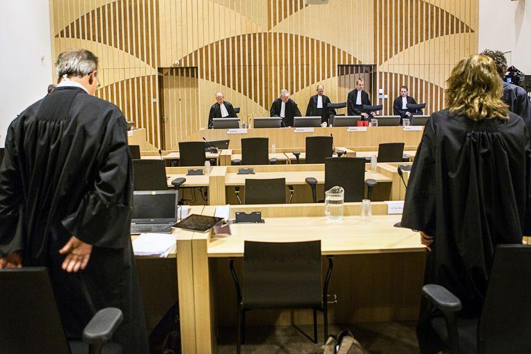 Net voor het begin van het hoger beroep van het Passageproces op de Rechtbank bij Schiphol Beeld anp