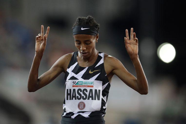 8 september 2013: Sifan Hassan loopt op een toernooi in Ostrava de 1.500 meter in 4.05. Beeld AP