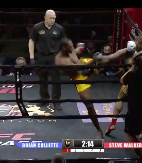 Kickbokser plaatst knock-out met tornadokick in Jean Claude van Damme-stijl