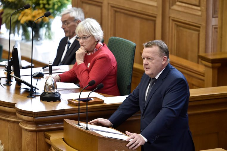 Deens premier Lars Løkke Rasmussen hield zijn toespraak bij de opening van het parlementaire jaar.