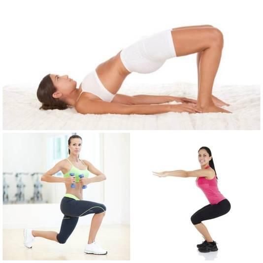boven: brug - linksonder: lunge - rechtsonder: squat