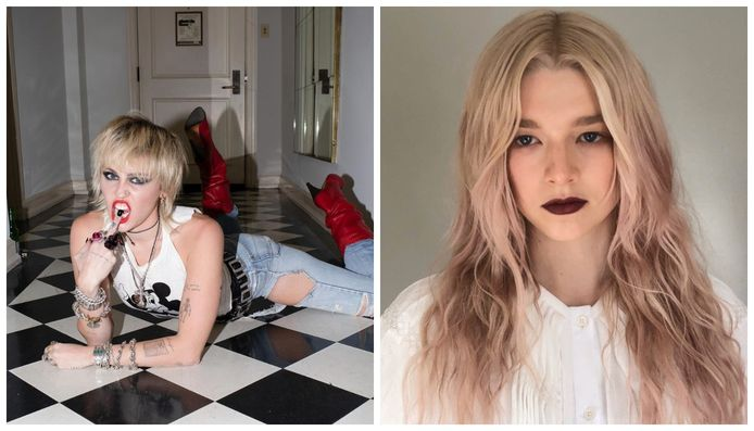 Voormalige Disney-ster Miley Cyrus, die genderfluïde is en 'Euphoria'-actrice Hunter Schafer, die transgender is.