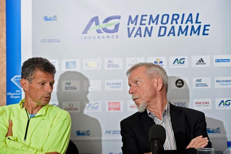 Wilfried Meert naast atletiekcoach Jacques Borlée enkele dagen voor de Memorial van vrijdag. Beeld PHOTO_NEWS