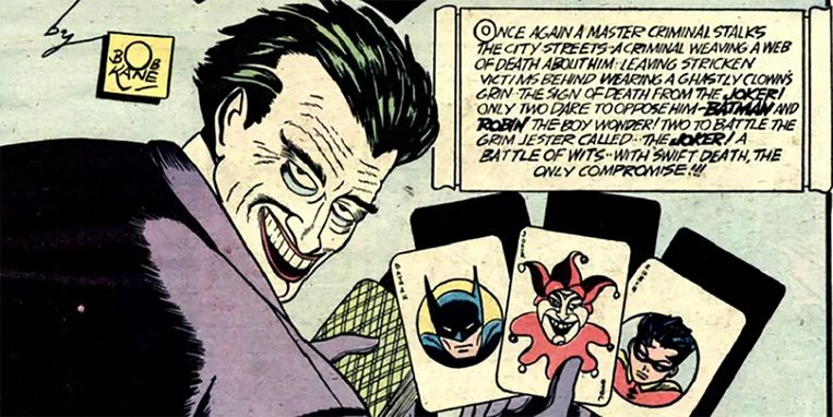 1940: eerste Batman-strip (tekenaar Bob Kane), waarin ook The Joker optreedt. Het personage en zijn voorkomen zijn gebaseerd op acteur Conrad Veidt in de stomme film 'The Man Who Laughs' uit 1928, een verfilming van een boek van Victor Hugo. Beeld rv