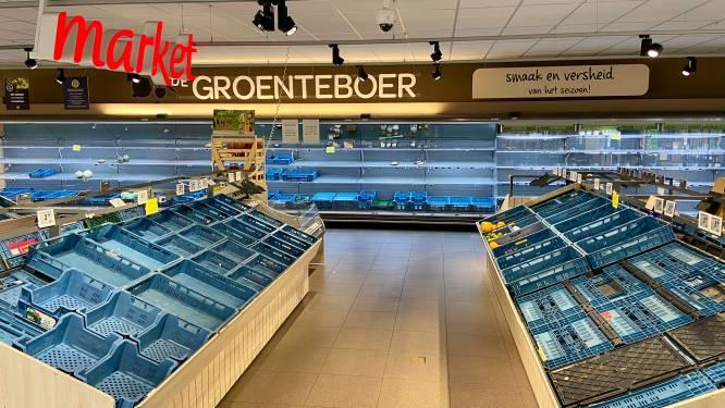 Leeg, leger, leegst: Carrefour Schilmart dag voor sluiting bijna helemaal uitverkocht