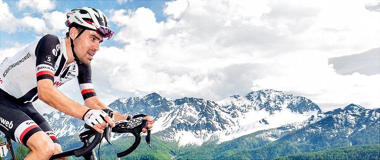Tom Dumoulin op 1300 meter van de finish in de beklimming van de Jafferau. Beeld Klaas Jan van der Weij