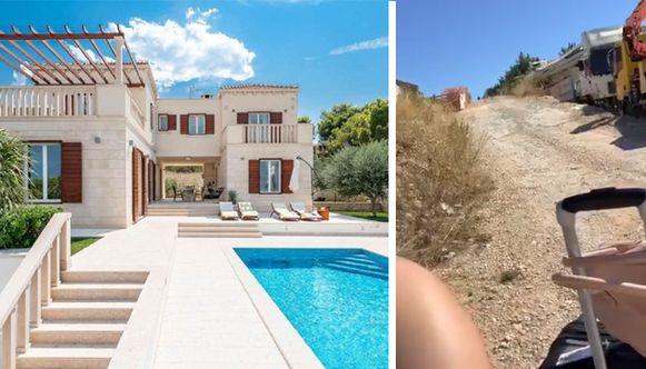 Foto links: de villa die de groep dacht gehuurd te hebben. Foto rechts:  eens aangekomen bleek de villa niet te bestaan.