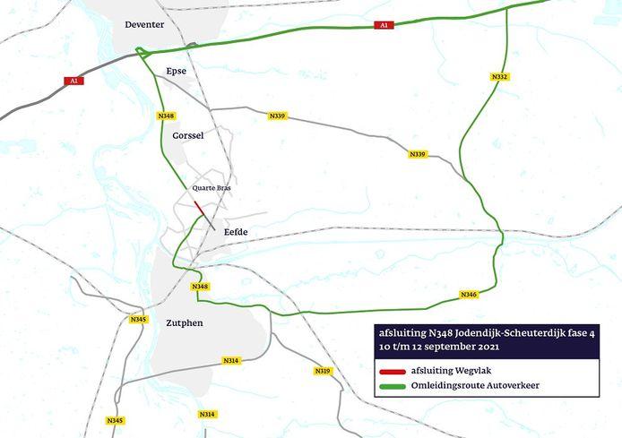 Verkeer tussen Gorssel en Eefde moet aankomend weekend omrijden via de A1, N332, N346 en N348.