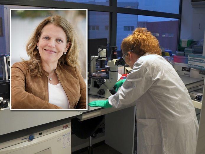 Viroloog Hanneke Schuitemaker (inzet) leidt het Leidse onderzoek naar een coronavaccin.