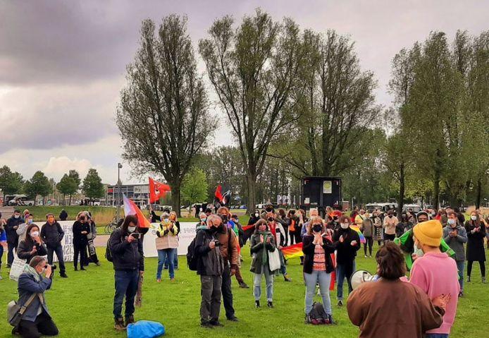 Honderden demonstranten voeren actie voorafgaand aan de finale van het Eurovisie Songfestival.