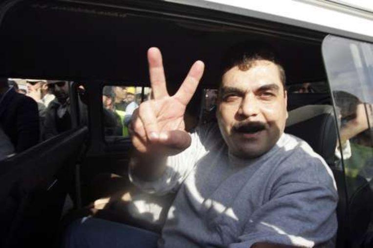 Hezbollahstrijder Samir Kantar werd gisteren vrijgelaten. Beeld UNKNOWN