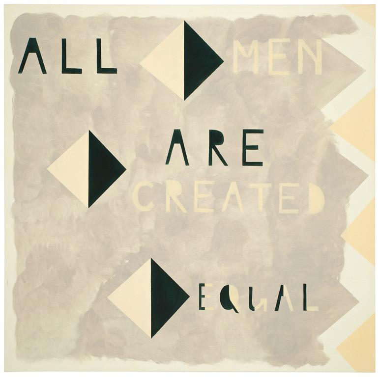'All men are created equal' Barack Obama (orig. Thomas Jefferson) 140 x 140 cm. Acryl-katoen. Courtesy Cokkie Snoei.