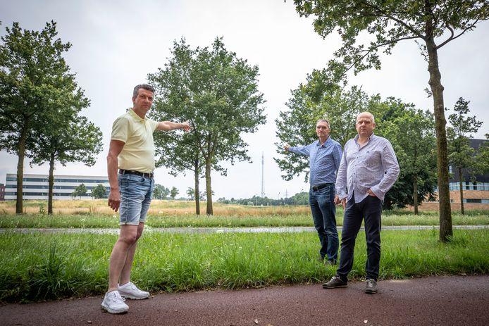 Frank de Kruijff, Hans Ritsema en  Ibo Oosterdijk (vlnr) wijzen naar de zendmast van RTV Oost. De beoogde windturbines worden bijna twee keer zo hoog, en die zijn ook nog eens dicht bij hun huizen in de Bornsche Maten gepland. Daar voeren zij nu actie tegen.