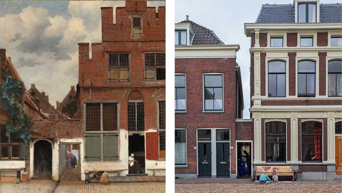 Het wereldberoemde Straatje van Vermeer en de huidige Vlamingstraat 40 en 42 in Delft.