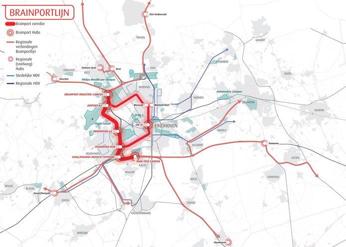 Kaart van de Brainportlijn