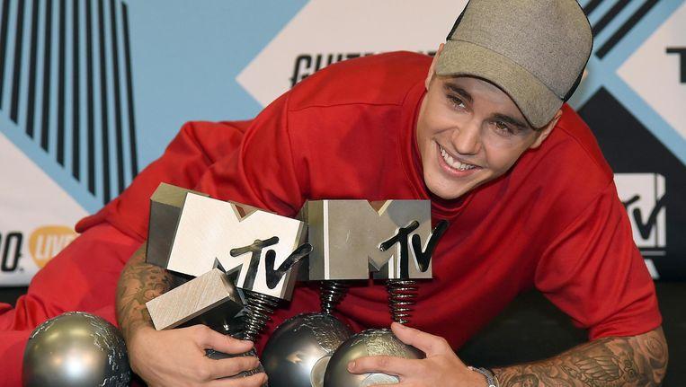 Justin Bieber won zondag drie MTV-awards en bracht zijn totaal daarmee op 21. Beeld anp