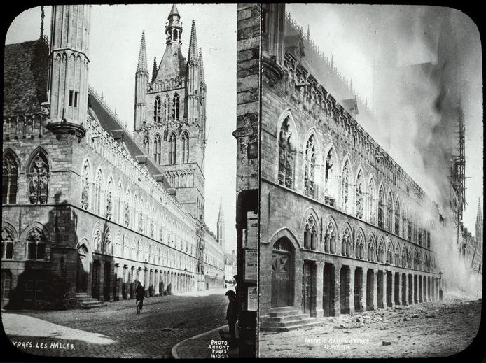 Twee foto's van de Lakenhallen voor en tijdens de Eerste Wereldoorlog  Op de rechterfoto zijn de stellingen zichtbaar. De toren was toen net geraakt door Duitse artillerie.