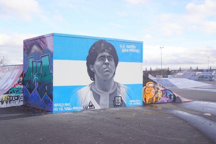 Het portret van Diego Maradona.