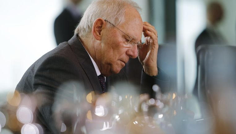 De Duitse minister van Financiën Wolfgang Schäuble ziet geen oplossing meer. Beeld AP