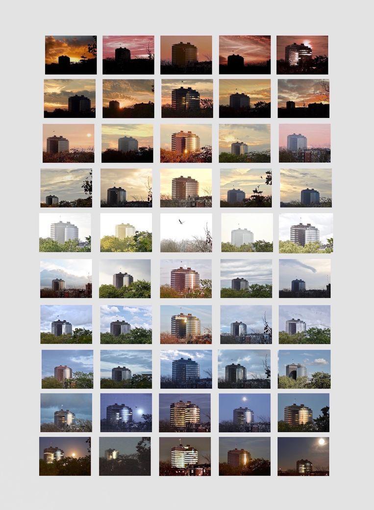 Al ruim tien jaar maakt kunstenaar Nanda Lowitz foto's van De Nederlandsche Bank. De drie kleuren van de lucht passen mooi bij dit gebouw van nationaal belang, waarvan binnenkort de ronde toren wordt gesloopt. De rest wordt gerenoveerd. Beeld Nanda Lowitz