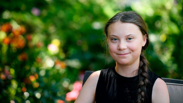 Greta Thunberg, de eerste klimaatstaker.  Beeld rv