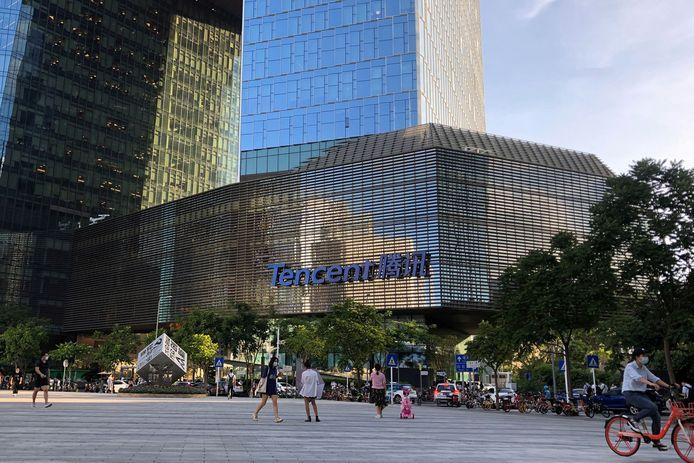 Het hoofdkwartier van Tencent in de stad Shenzhen.