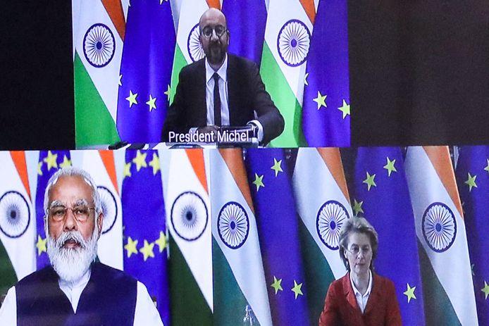 Een virtuele meeting tussen Indiaas premier Narendra Modi, Europees president Charles Michel en voorzitter van de Europese Commissie Ursula von der Leyen.