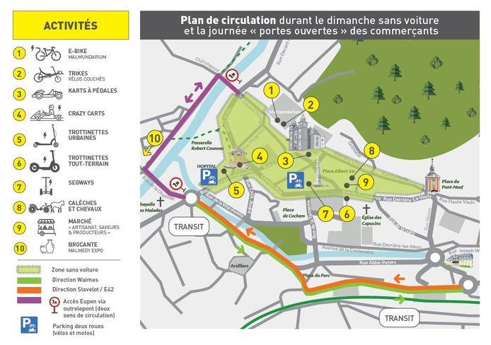 Plan du périmètre, des activités et des déviations mises en place lors du dimanche sans voiture du 27 septembre prochain.