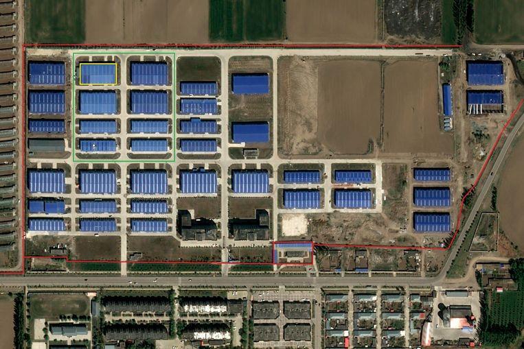 Satellietfoto van Nilka-Wujin MKB Ondernemersbasis uit juni 2021. Rond het industrieterrein staat een drie meter hoog hek (rood) met resten van prikkeldraad en elektriciteit. De fabriekshallen van fase 2 van het industrieterrein (groen) werden eind 2017 opgeleverd, en hebben tralies voor de ramen. Dina Nurdybai zegt in fabriekshal D7 (geel) te hebben gewerkt Beeld PLEIADES © CNES 2021. Distributie Airbus DS / Beschikbaar gesteld door Earthrise