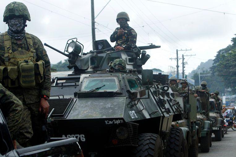 Filipijnse regeringstroepen in Jolo na de volksbevraging op 21 januari over de oprichting van een nieuwe autonome moslimregio in de zuidelijke regio Mindanao.  Beeld EPA