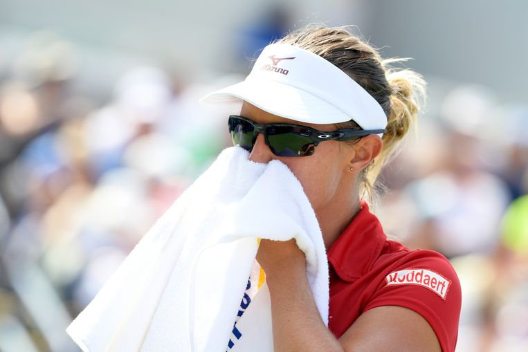 Belgian Kirsten Flipkens pictured during a tennis match between Belgian Kirsten Flipkens (WTA 57) and American CoCo Vandeweghe (WTA 25), in the first round of the women's singles at the 118th US Open Grand Slam tennis tournament, at Flushing Meadow, in New York City, USA, Tuesday 28 August 2018. BELGA PHOTO YORICK JANSENS Beeld BELGA