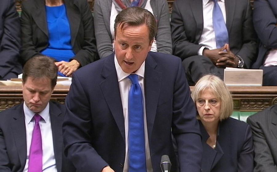Het parlement reageerde verbijsterd op de uitspraken van Cameron.