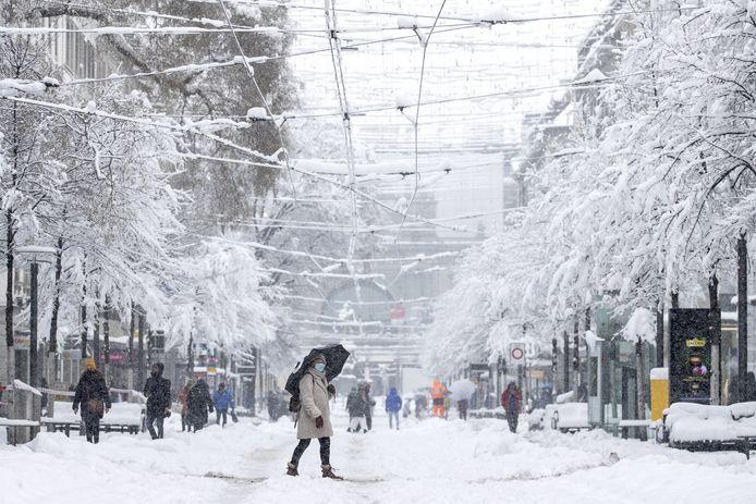 Ook in Zürich is er al heel wat sneeuw gevallen. Beeld van 15 januari.