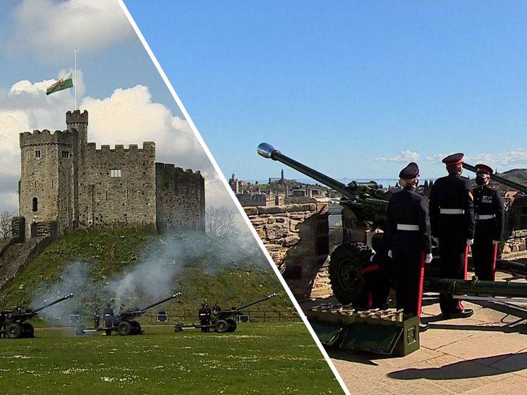 Eresaluut voor prins Philip dondert over Britse eilanden
