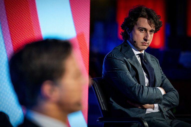 GroenLinks-lijsttrekker Jesse Klaver tijdens een van de verkiezingsdebatten.  Beeld ANP
