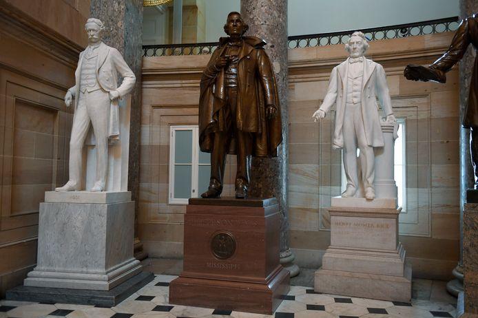Het standbeeld van Jefferson Davis uit Mississippi in de Statuary Hall in het Capitool in Washington.